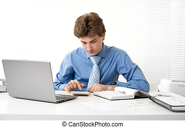 ビジネス, 彼の, オフィス, 仕事, 人