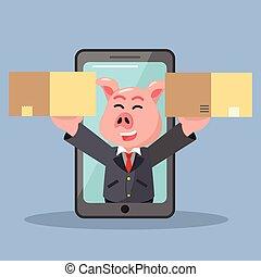 ビジネス, 得なさい, 2, 豚, 電話の箱, から