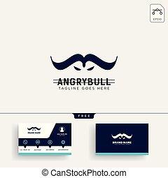 ビジネス, 怒る, デザイン, テンプレート, 雄牛, ロゴ, カード