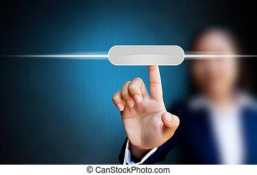 ビジネス, 感触, 女性, インターフェイス, 押す, スクリーン, 手, ボタン