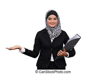 ビジネス, 成功した, 上に, muslim, 隔離された, 背景, woman., 白, 幸せ