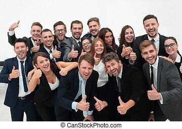 ビジネス, 成功した, 提示, の上, 親指, チーム