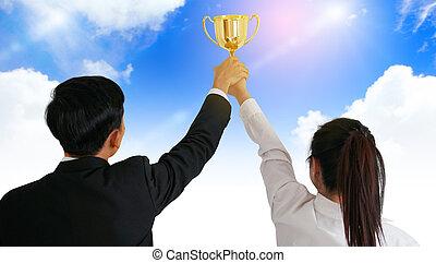 ビジネス, 成功, 人々, concept., 保有物, trophy.