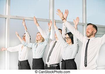 。, ビジネス, 成功, 提示, チーム, ∥(彼・それ)ら∥, 手