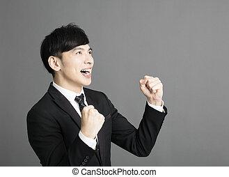 ビジネス, 成功, 若い, 幸せ, ジェスチャー, 人