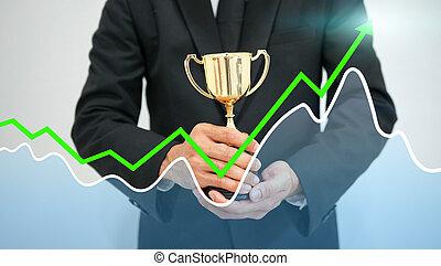 ビジネス, 成功, concept., 保有物, ビジネスマン, trophy.