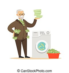 ビジネス, 成長した, ベクトル, 人, 汚い金, 洗濯, お金, スーツ, 不正である, 不法入国者, イラスト, 確信した, 洗浄