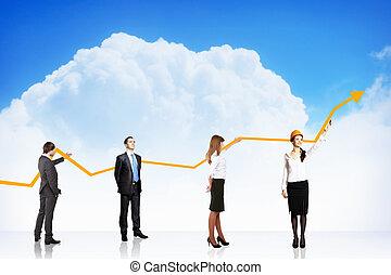 ビジネス 成長, そして, 成功, グラフ