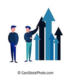 ビジネス 成長, 矢, 成功, ビジネスマン
