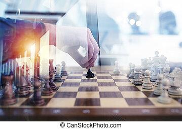 ビジネス, 戦術, ∥で∥, チェスの ゲーム, そして, ビジネスマン, それ, 仕事, 一緒に, 中に, オフィス。, 概念, の, チームワーク, 協力, そして, strategy., 二重露光