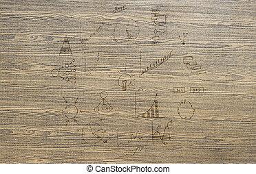 ビジネス, 手ざわり, 木, 計画, 背景, 図画