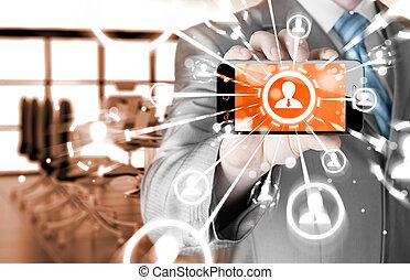 ビジネス, 手の 保有物, a, 電話, ショー, ∥, 社会, ネットワーク