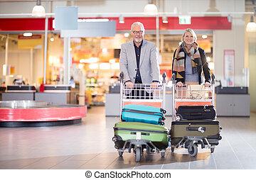 ビジネス, 手荷物, カート, 恋人, 空港, シニア, 幸せ