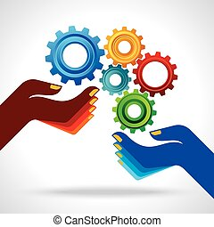 ビジネス, 手, concept., ビジネスマン