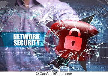 ビジネス, 技術, インターネット, そして, ネットワーク, security., ネットワーク保全