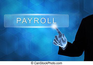 ビジネス, 押す, 給料支払い名簿, 手, ボタン