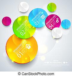 ビジネス, 抽象的, イラスト, 幾何学的, ペーパー, ベクトル, デザイン, circles., プレゼンテーション, あなたの