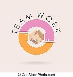 ビジネス, 抽象的, チームワーク, concept., template., 握手, デザイン, シンボル。, ideas., 協力
