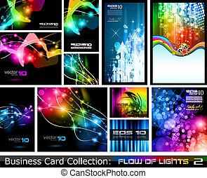 ビジネス, 抽象的, 流れ, ライト, 2, collection:, カード