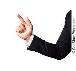 ビジネス, 指すこと, 隔離された, 手, 指, 人