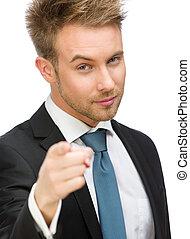 ビジネス, 指を 指すこと, ジェスチャー, 人