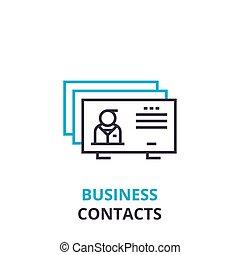 ビジネス, 接触, 概念, アウトライン, アイコン, 線である, 印, 薄いライン, pictogram, ロゴ, 平ら, ベクトル, イラスト