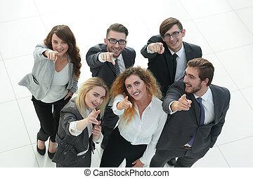 ビジネス, 提示, の上, 親指, チーム, 微笑