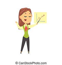 ビジネス 提示, 寄付, 女性実業家, 仕事, 特徴, イラスト, 人, ベクトル, ウエア, 漫画, 形式的