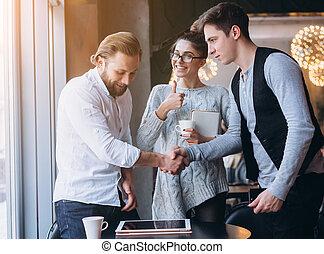 ビジネス, 握手, そして, ビジネス 人々, 概念