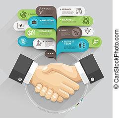 ビジネス, 握手, そして, 泡, スピーチ, テンプレート, style., ベクトル, illustration.,...