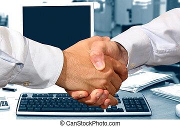 ビジネス, 握手, 中に, オフィス