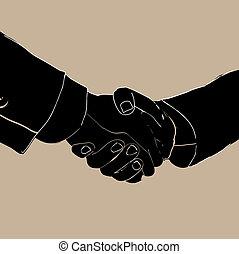 ビジネス, 握手, 人々。, vector., partnership.