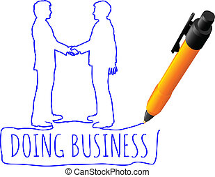 ビジネス, 握手, 図画, 取引, 人々