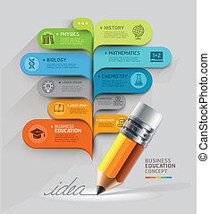 ビジネス, 教育, concept., 鉛筆, そして, 泡, スピーチ, template., 缶, ありなさい,...