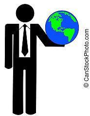 ビジネス, 数字, 地球, の上, 保有物, ∥あるいは∥, 人