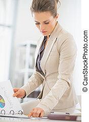 ビジネス 文書, 女, オフィス, 仕事
