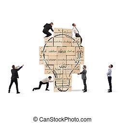 ビジネス, 新しい, 大きい, lightbulb, idea., 建物, 一緒に, 作られた, 引かれる, 壁, れんが, 人, 創造的