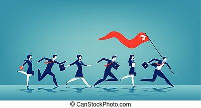 ビジネス, 旗, リーダー, 赤, 保有物