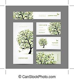 ビジネス, 春, 木, デザイン, カード, 鳥