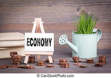 ビジネス, 春, concept., 水まき, ミニチュア, 緑, 小さい, 新たに, 草, ポット, 変化しなさい, 経済