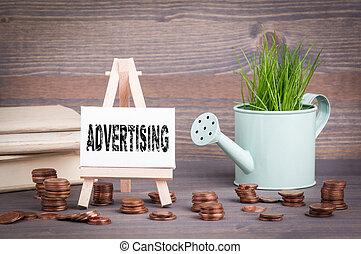 ビジネス, 春, concept., 水まき, ミニチュア, 緑, 広告, 小さい, 新たに, 草, ポット, 変化しなさい