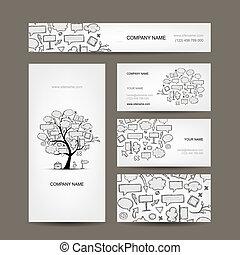 ビジネス, 木, コレクション, カード, デザイン, フレーム