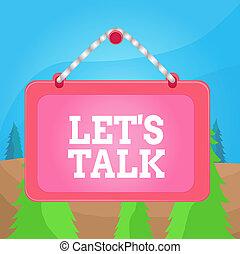 ビジネス, 板, panel., 提案, topic, 執筆, しまのある, 長方形, 有色人種, 固定, テキスト, フレーム, talk., 概念, 会話, 単語, ひも, lets, 始まり, 背景, 釘