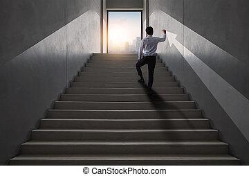 ビジネス 概念, ストローク, 矢, フォーカス, いかに, 発展しなさい, 上, リーダー, ありなさい, 起きなさい, 若い, 成功した, 達成, 都市, 階段, 成功, ドロー, 仕事, ビジネスマン, 生活, ゴール, 上昇, 方法