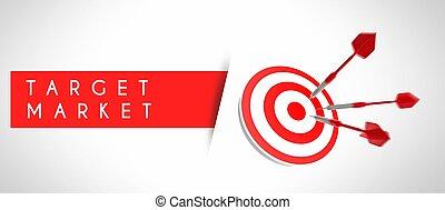 ビジネス 概念, 市場, ターゲット, 成功
