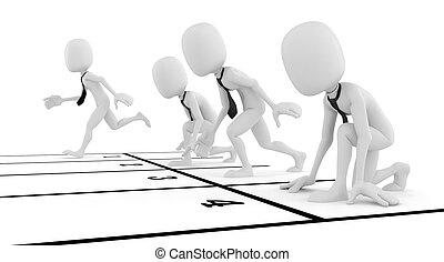 ビジネス 概念, 競争, 背景, ビジネスマン, 白, 人, 3d