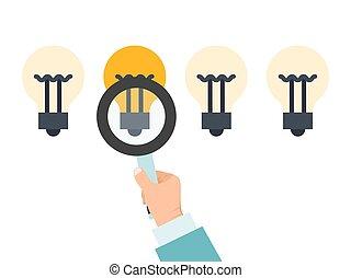 ビジネス, 権利, 明るい, 電球, 手, 人, ベクトル, illustration., 選択, 成功, magnifier, ビジネスマン, 選択, chooses, ligt, 考え, ideas.