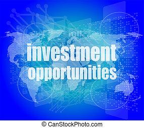 ビジネス, 機会, スクリーン, 言葉, デジタル, 投資, concept:, 3d