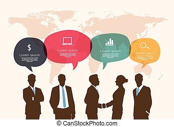 ビジネス, 泡, ifographic, ミーティング, スピーチ