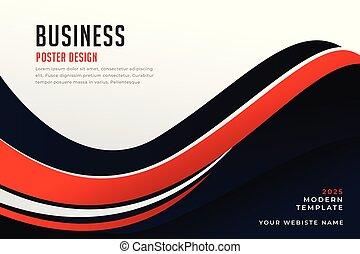 ビジネス, 波状, 黒, 流行, デザイン, 旗, 赤